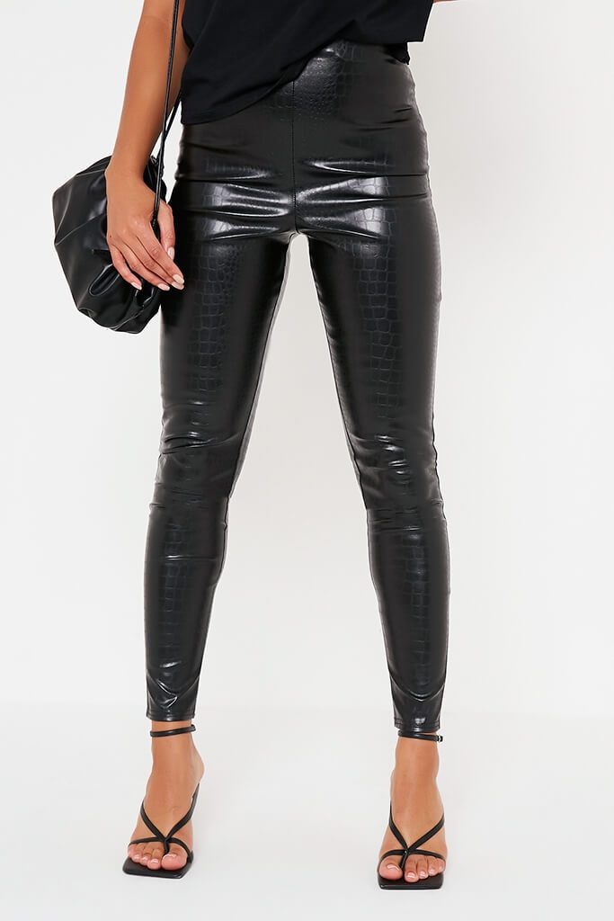 Black Croc Faux Leather Skinny Leggings view 2