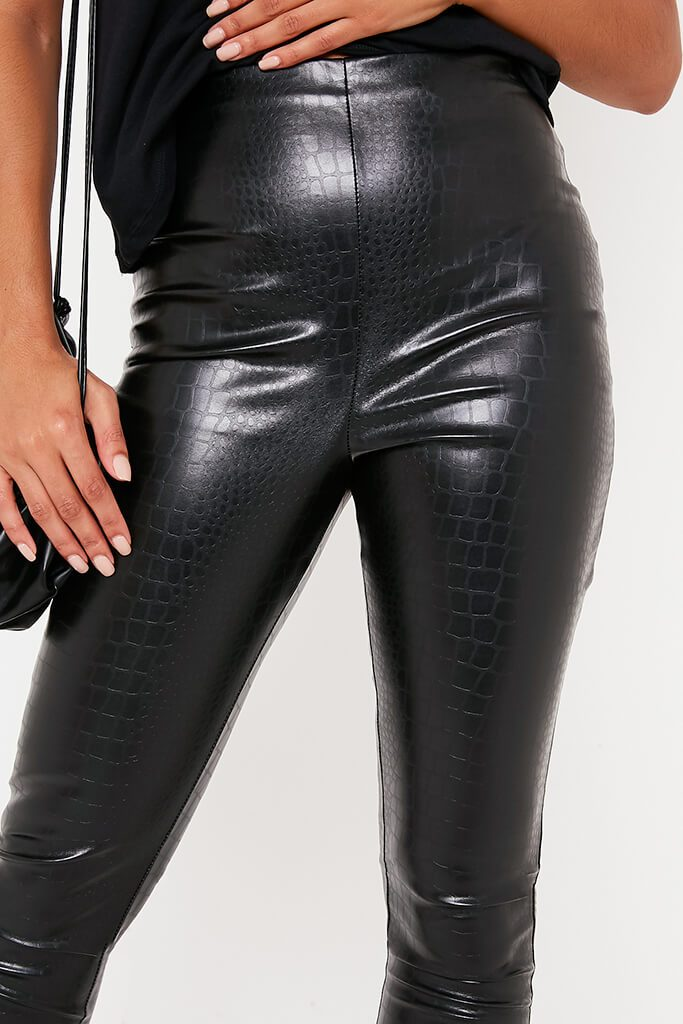 Black Croc Faux Leather Skinny Leggings view 5