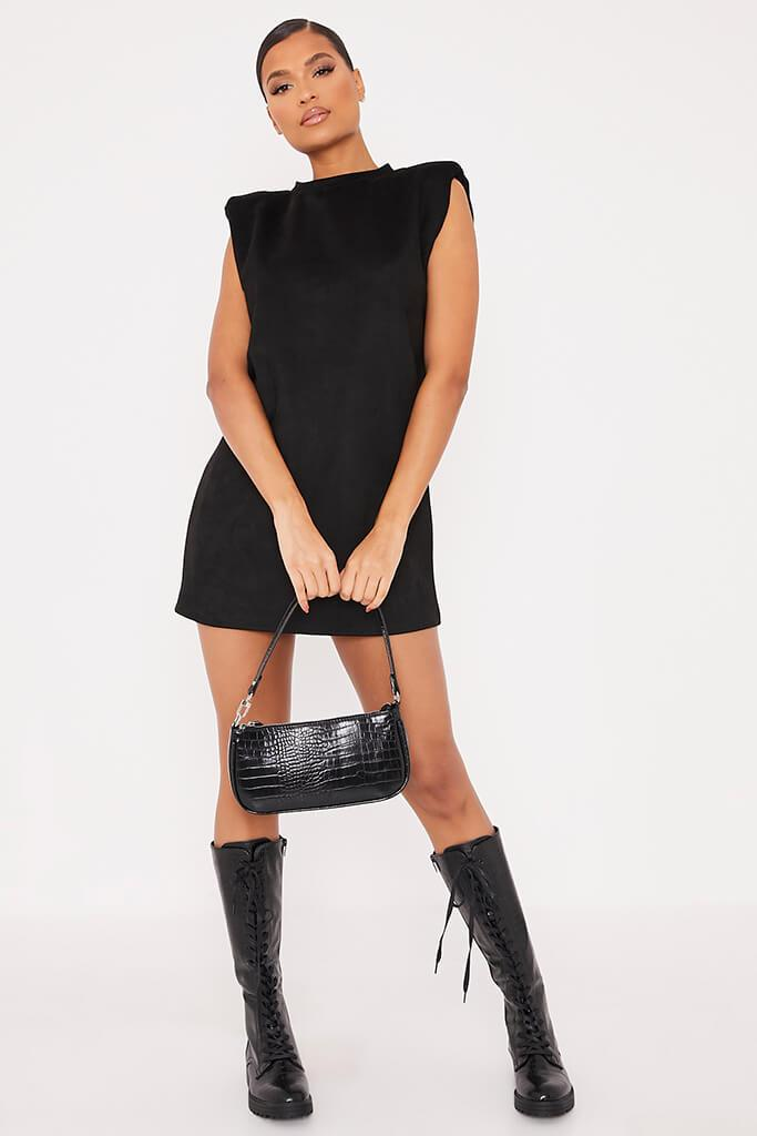 Black Suede Shoulder Pad Sleevless Shift Dress view 2