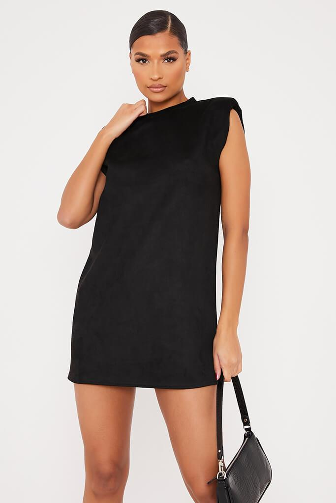 Black Suede Shoulder Pad Sleevless Shift Dress