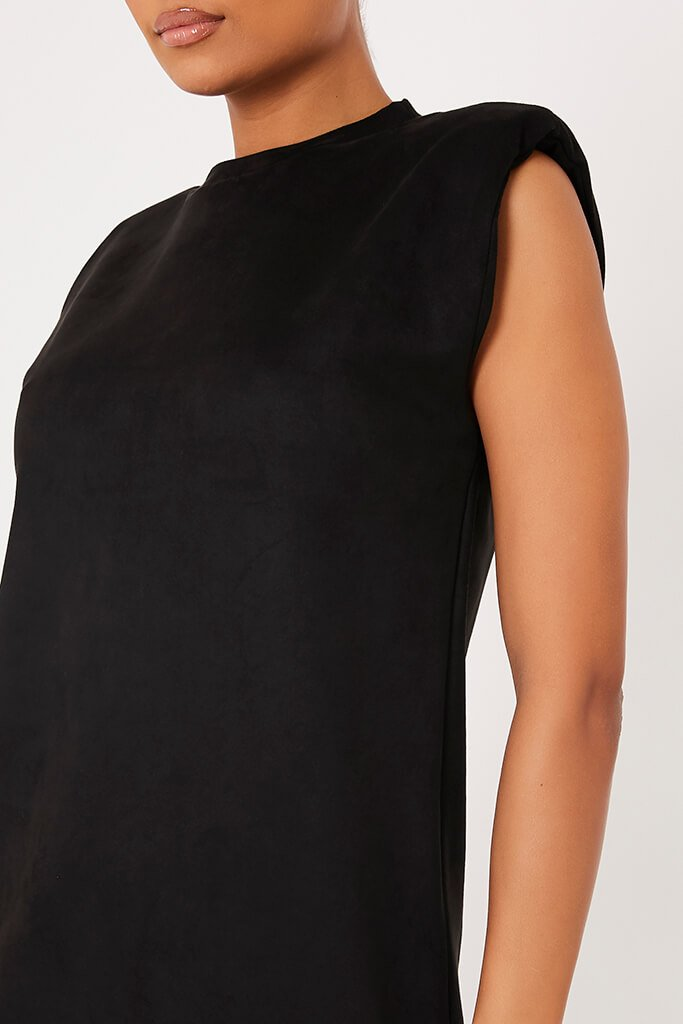 Black Suede Shoulder Pad Sleevless Shift Dress view 5