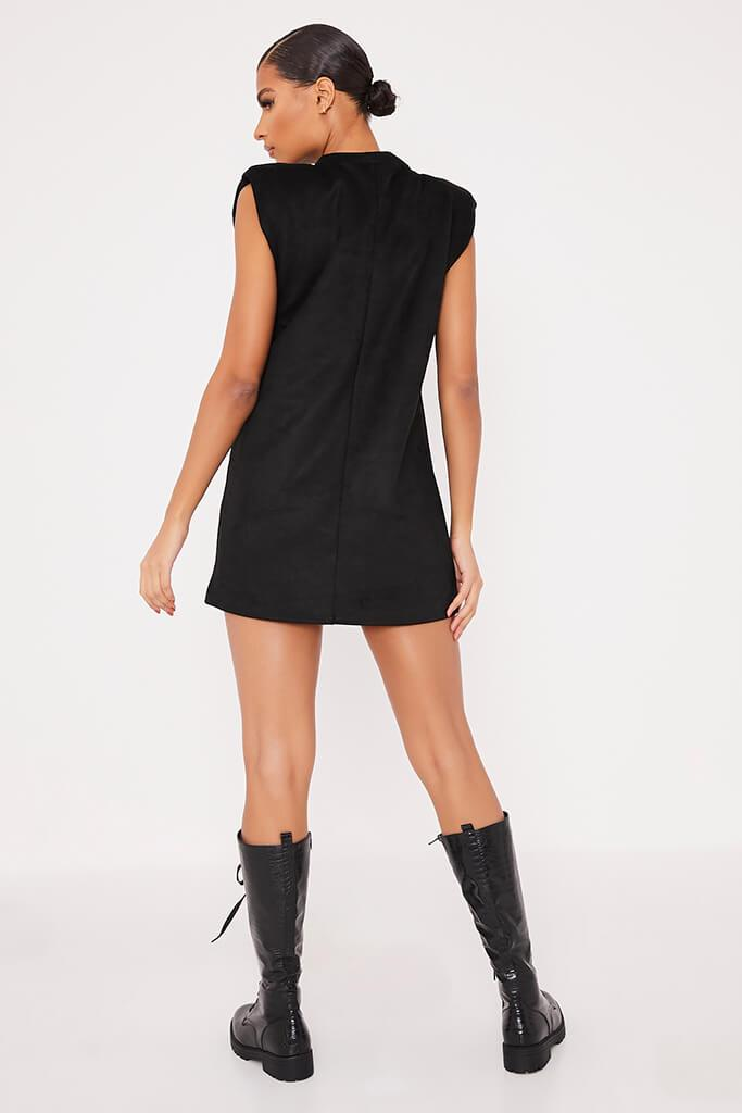 Black Suede Shoulder Pad Sleevless Shift Dress view 4