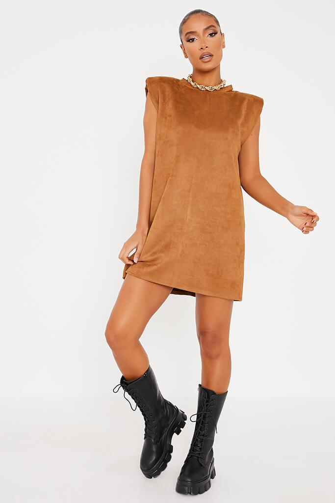 Camel Suede Shoulder Pad Sleevless Shift Dress view 2