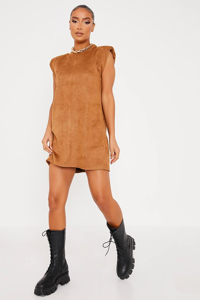 Camel Suede Shoulder Pad Sleevless Shift Dress view 3