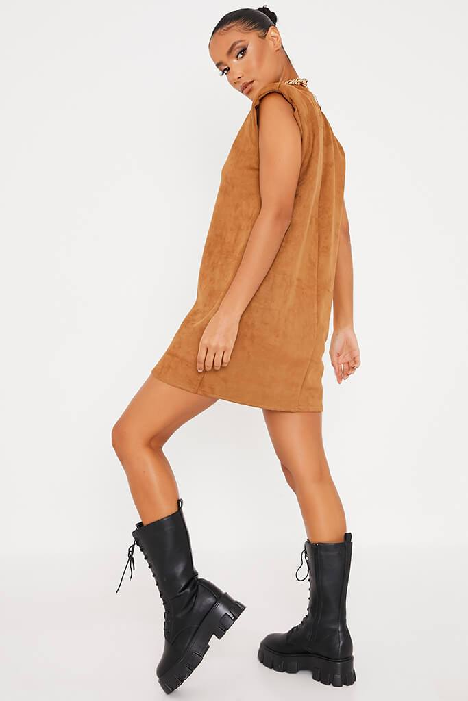 Camel Suede Shoulder Pad Sleevless Shift Dress view 4