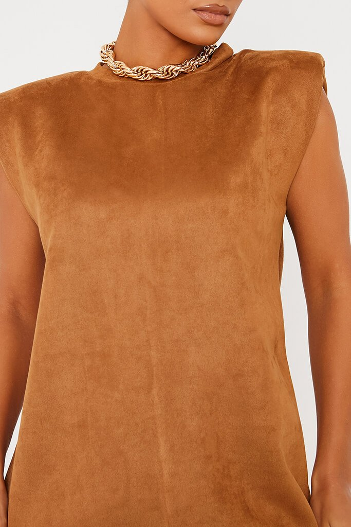 Camel Suede Shoulder Pad Sleevless Shift Dress view 5