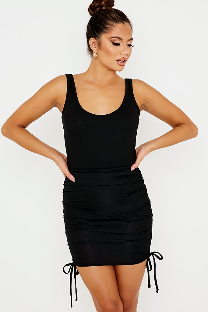 Black Ribbed Side Ruched Mini Skirt