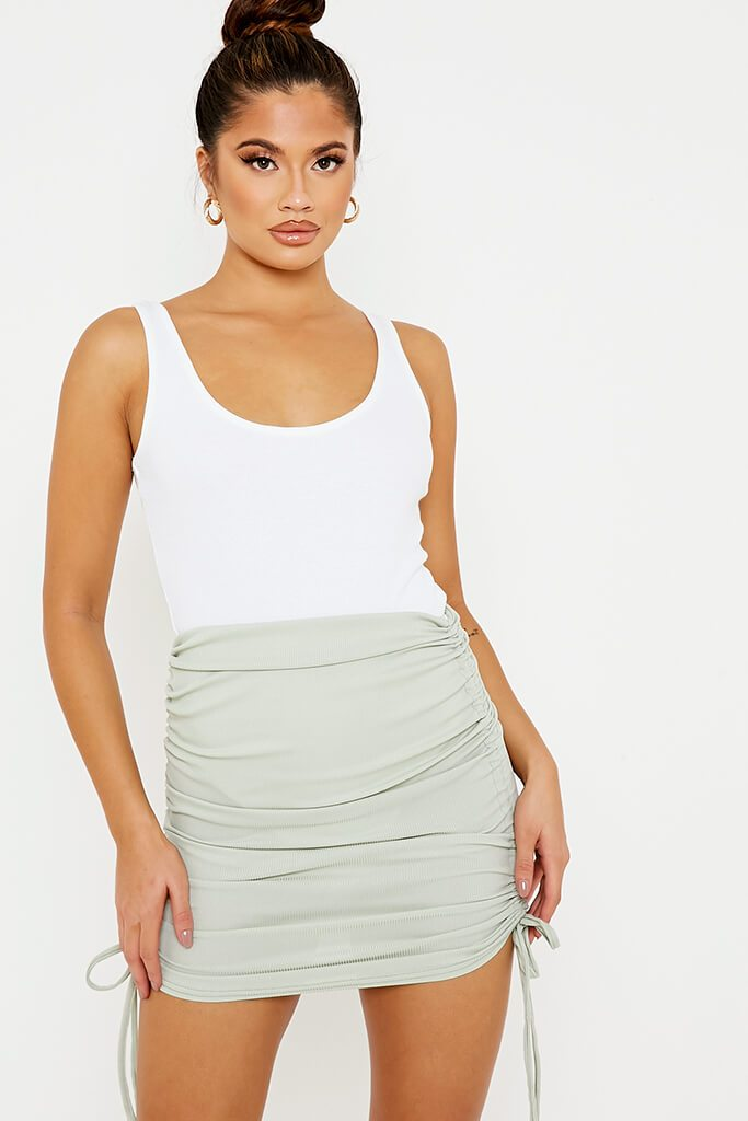 Sage Ribbed Side Ruched Mini Skirt