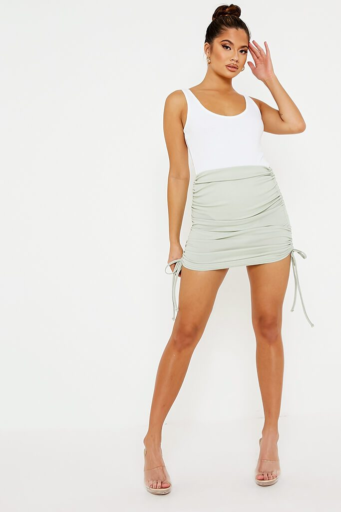 Sage Ribbed Side Ruched Mini Skirt view 2