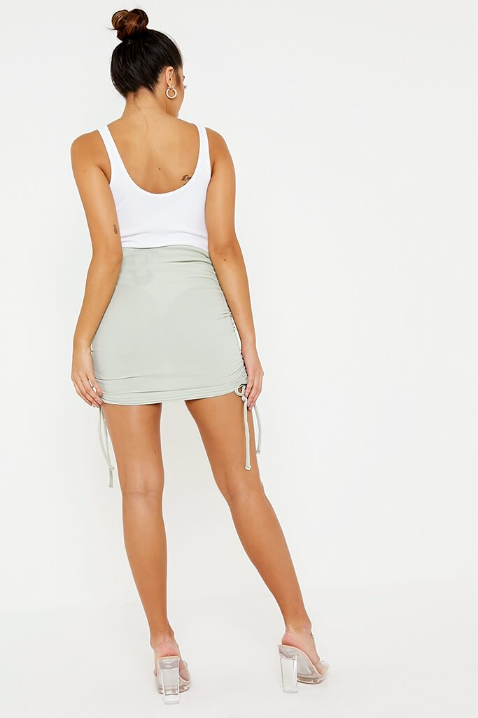 Sage Ribbed Side Ruched Mini Skirt view 4