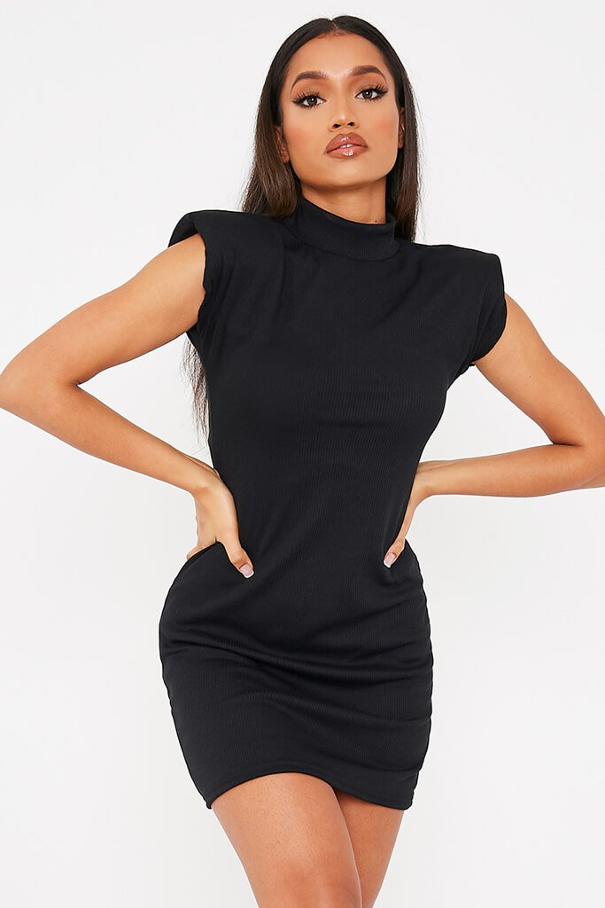 Black Ribbed Shoulder Pad High Neck Bodycon Dress