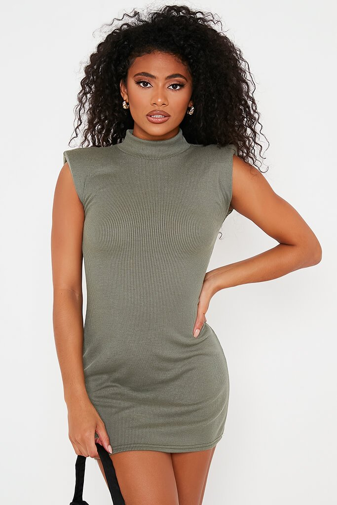 Khaki Ribbed Shoulder Pad High Neck Bodycon Dress