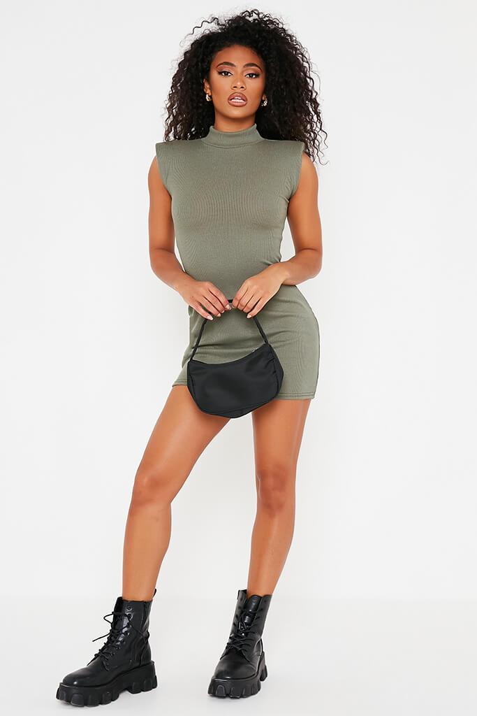 Khaki Ribbed Shoulder Pad High Neck Bodycon Dress view 2