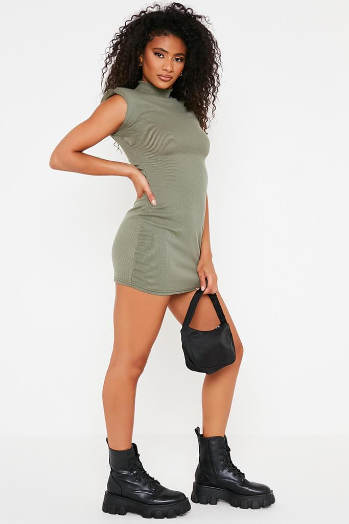 Khaki Ribbed Shoulder Pad High Neck Bodycon Dress view 3