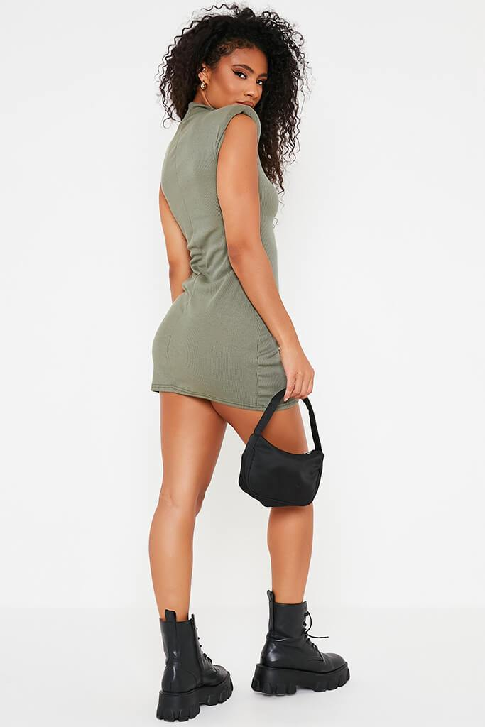 Khaki Ribbed Shoulder Pad High Neck Bodycon Dress view 4