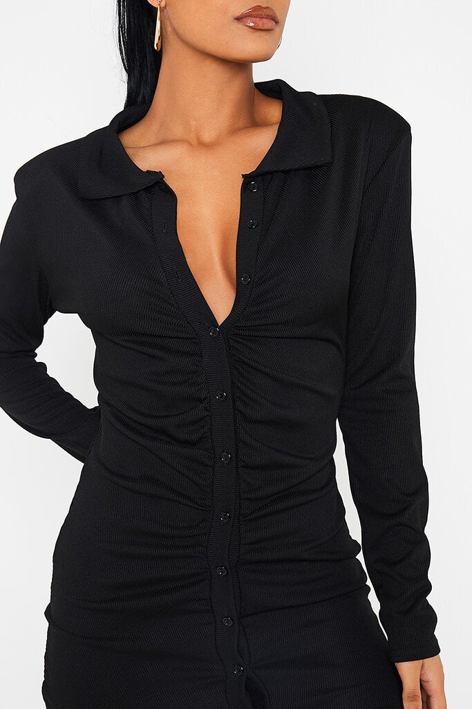 Black Ribbed Shoulder Pad Button Down Ruched Bodycon Dress view 5