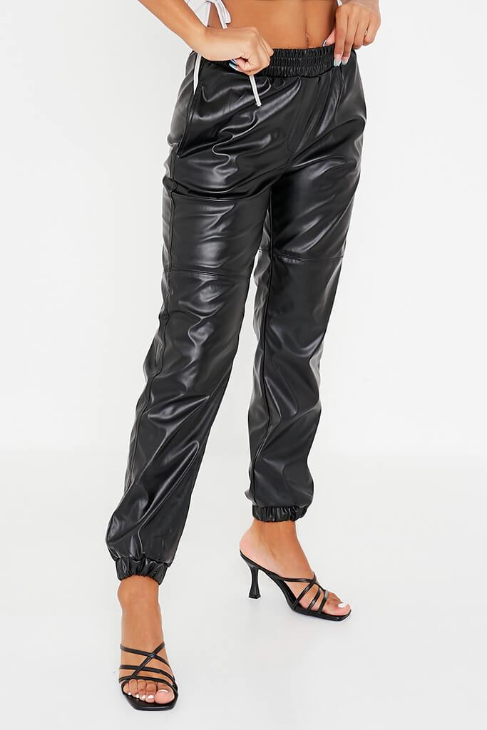 Black Faux Leather Joggers view 2