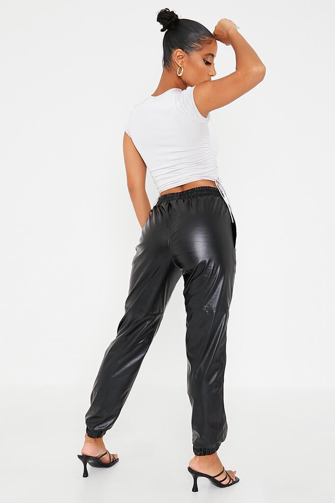 Black Faux Leather Joggers view 4