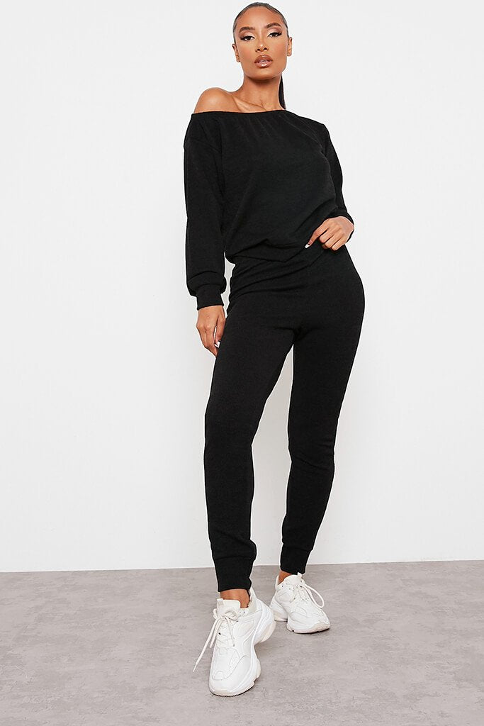 Black Soft Rib Slim Leg Joggers