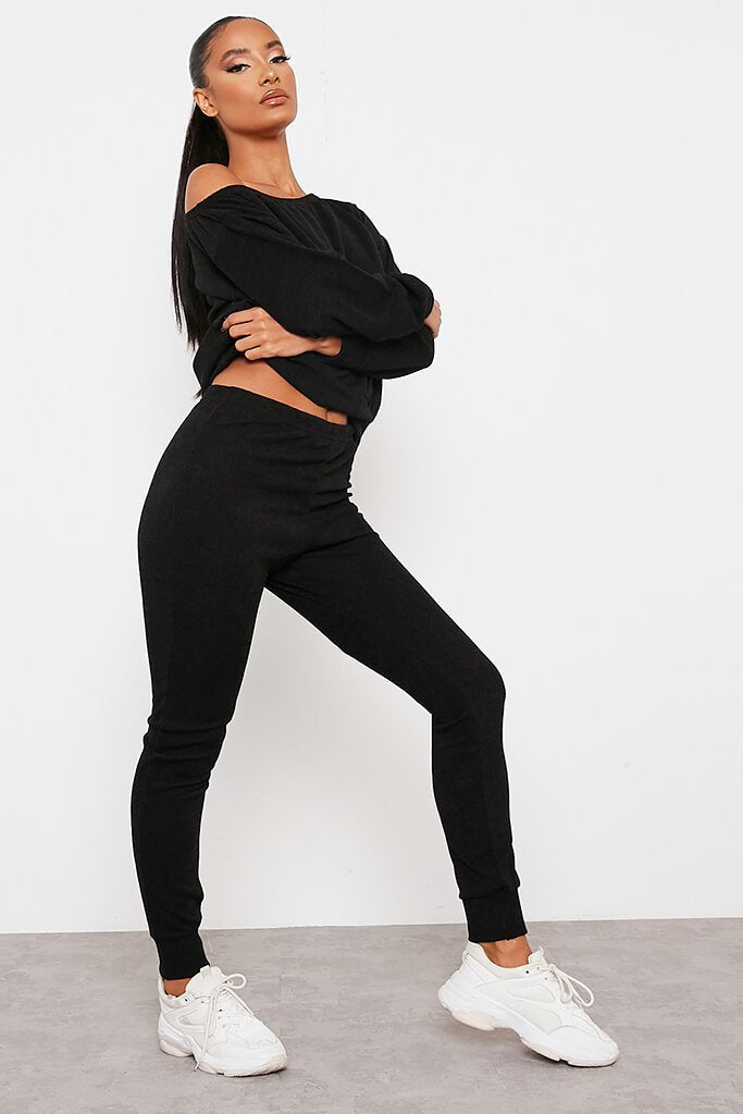 Black Soft Rib Slim Leg Joggers view 3