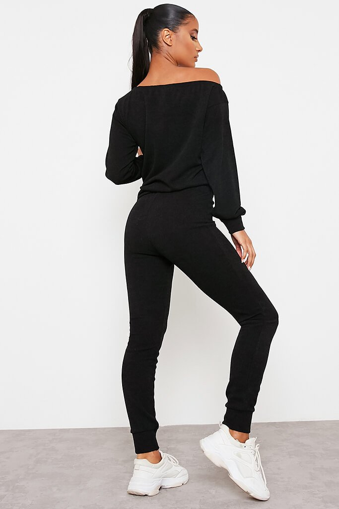Black Soft Rib Slim Leg Joggers view 4