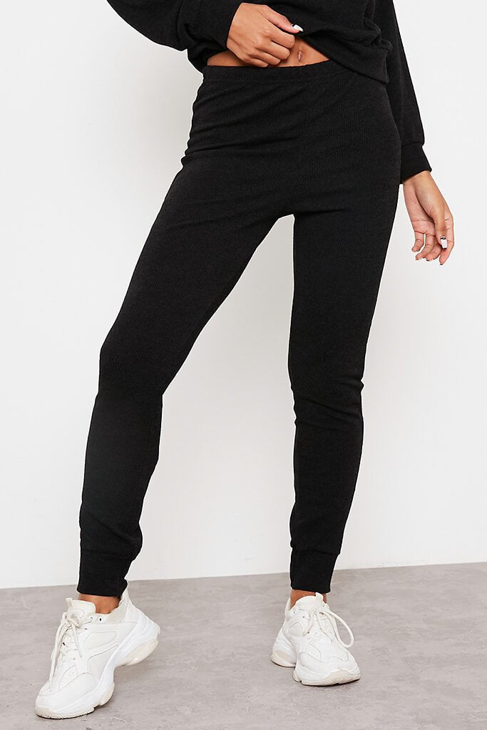 Black Soft Rib Slim Leg Joggers view 2