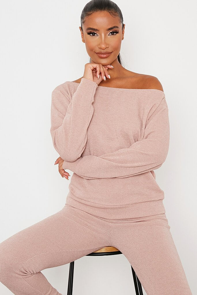 Stone Soft Rib Off Shoulder Top