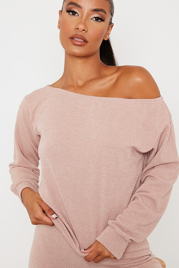 Stone Soft Rib Off Shoulder Top view 5
