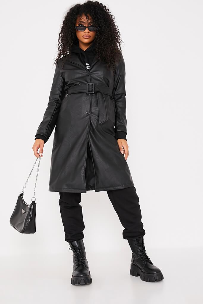 Black Faux Leather Belted Mac Coat view main view