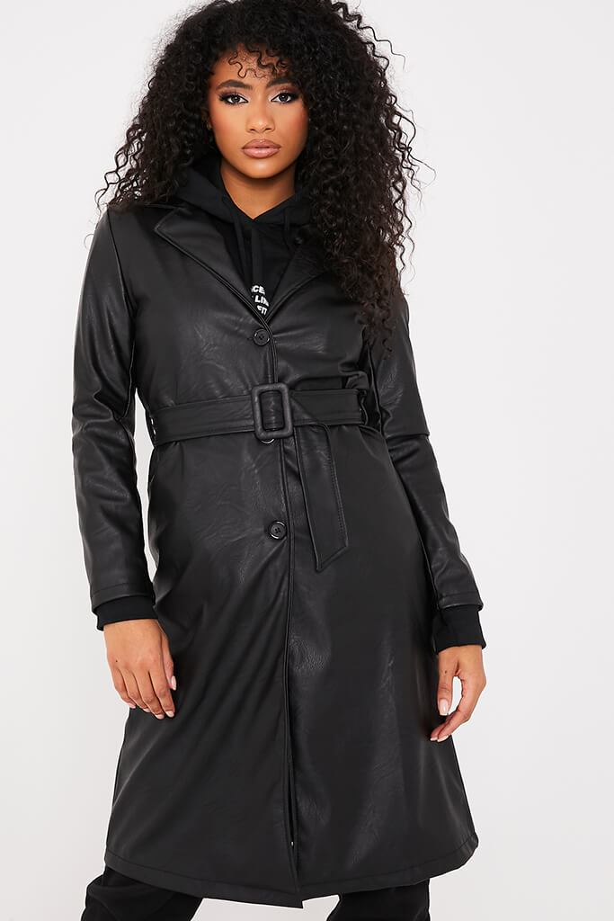 Black Faux Leather Belted Mac Coat view 2