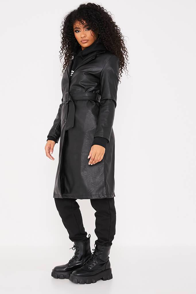 Black Faux Leather Belted Mac Coat view 3