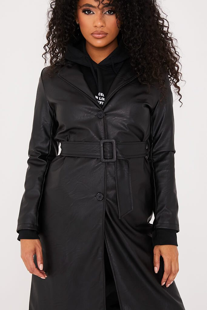 Black Faux Leather Belted Mac Coat view 5