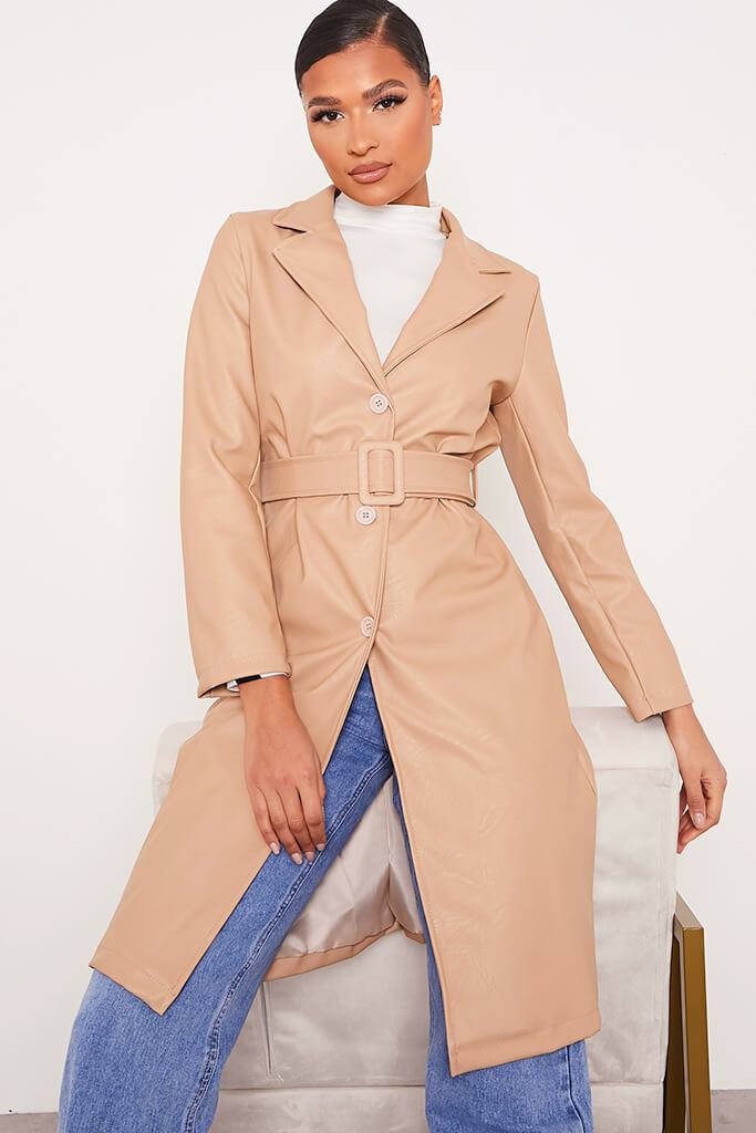 Stone Faux Leather Belted Mac Coat