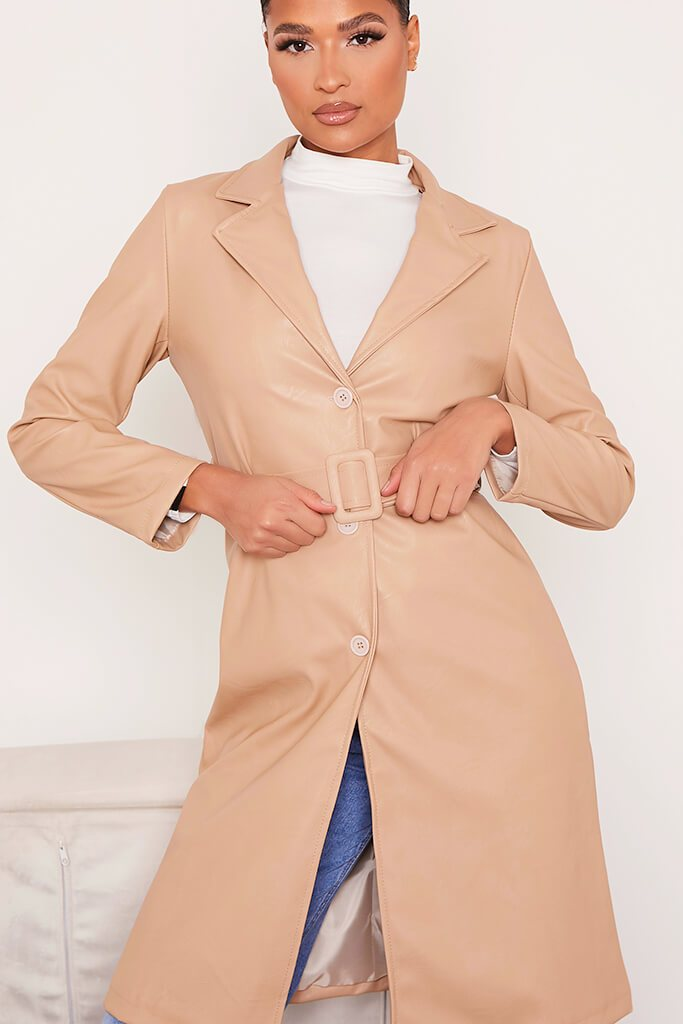 Stone Faux Leather Belted Mac Coat view 5