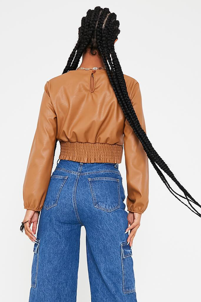 Camel Faux Leather Shoulder Pad Shorred Waist Crop Top view 4