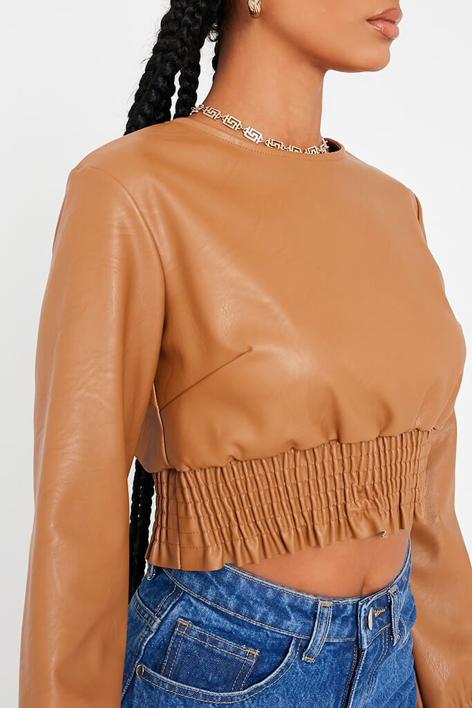 Camel Faux Leather Shoulder Pad Shorred Waist Crop Top view 5
