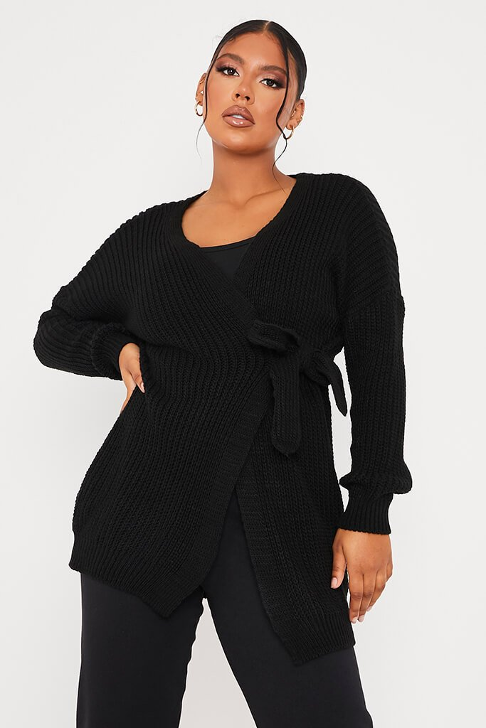 Black Knitted Wrap Tie Midi Cardigan view main view
