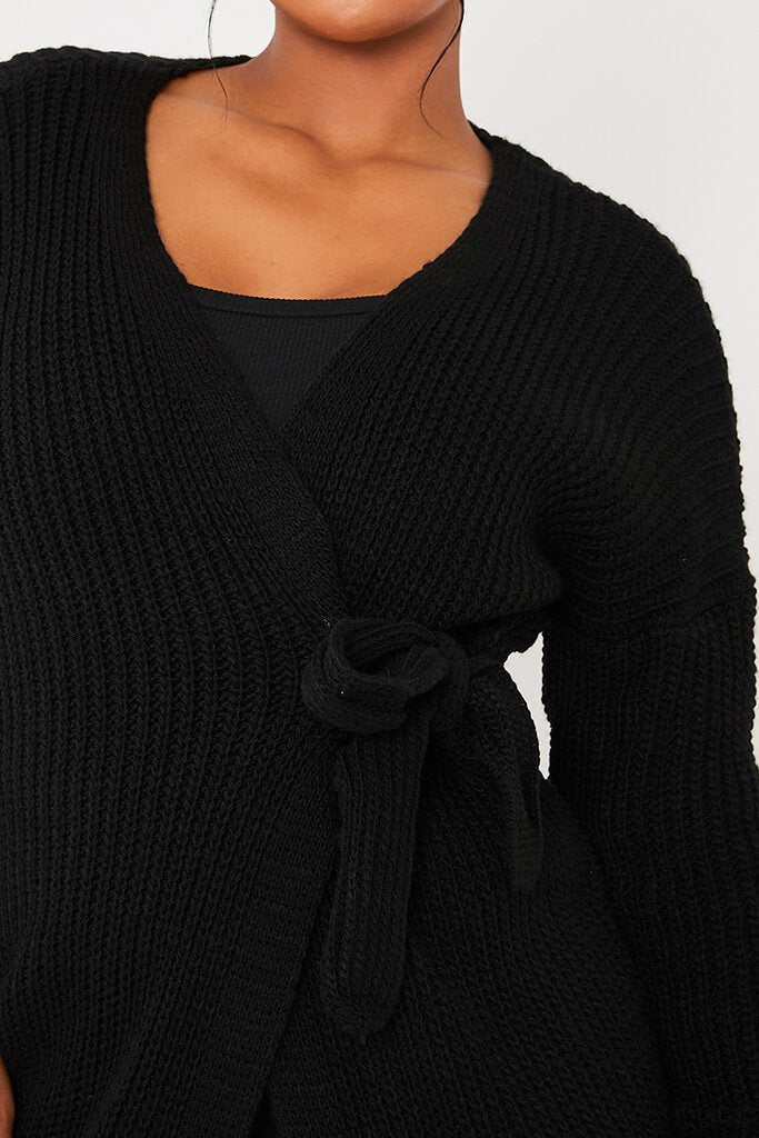 Black Knitted Wrap Tie Midi Cardigan view 5