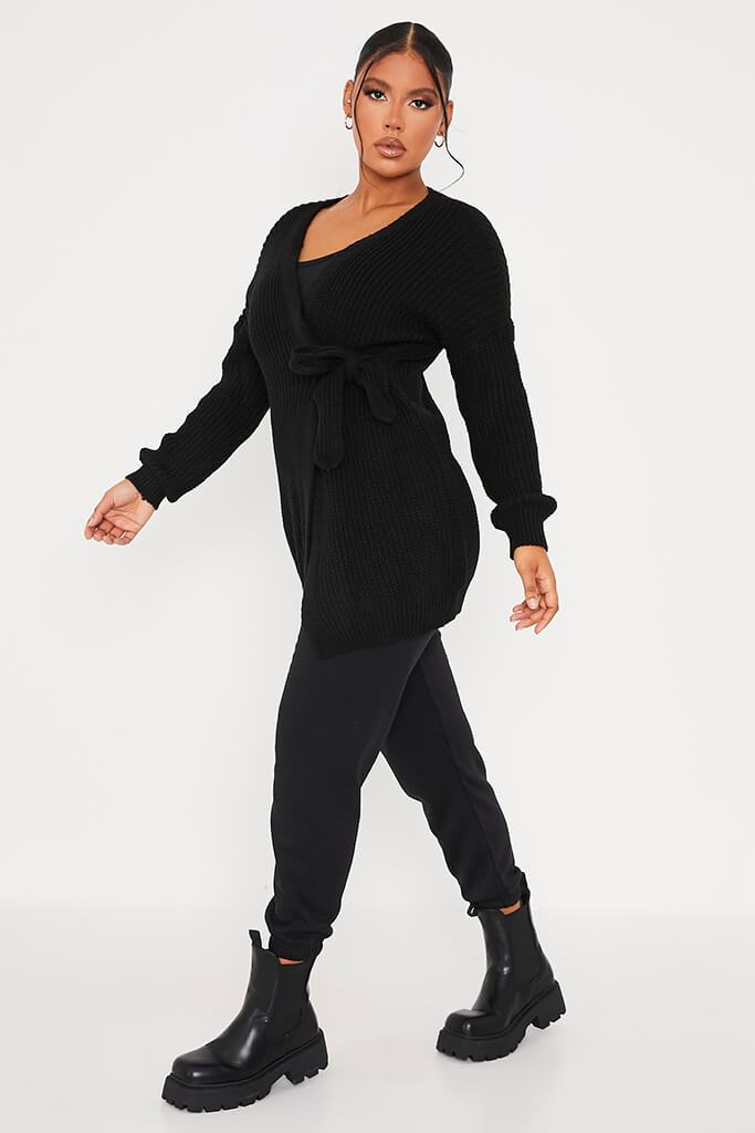 Black Knitted Wrap Tie Midi Cardigan view 3