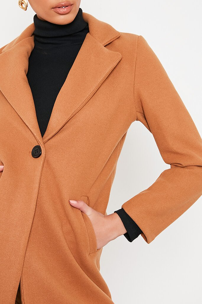 Camel Formal Fitted Coat view 5