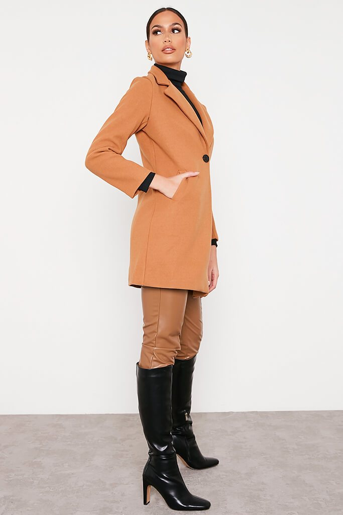Camel Formal Fitted Coat view 3