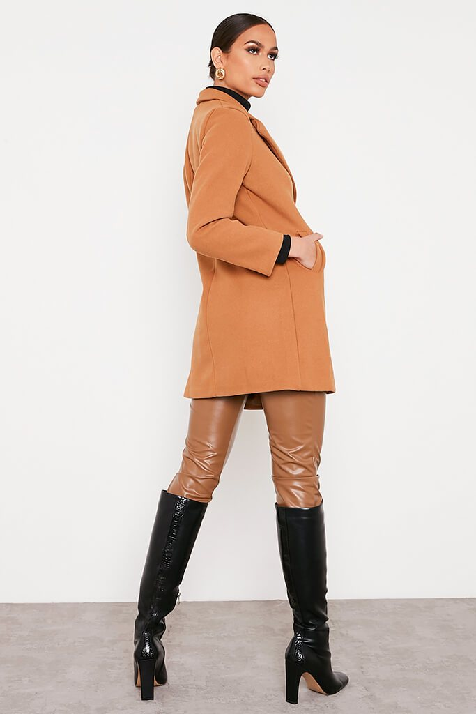 Camel Formal Fitted Coat view 4