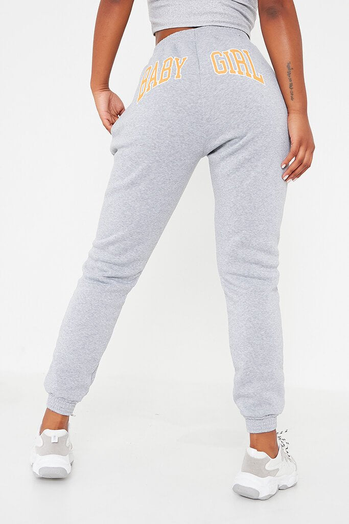 Grey Baby Girl Printed Joggers view 4