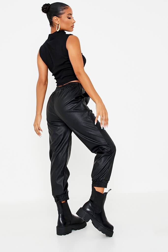Black Faux Leather Shirred Waist Band Joggers view 4