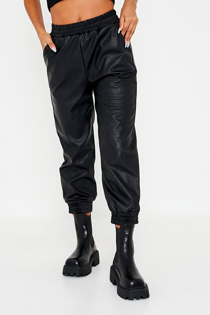 Black Faux Leather Shirred Waist Band Joggers view 2