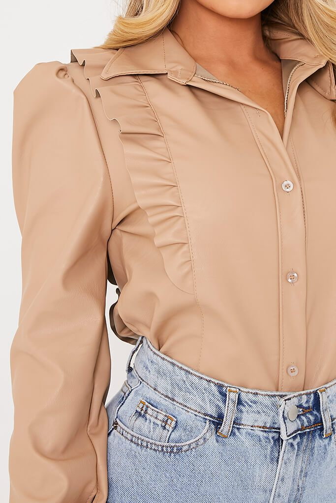 Stone Faux Leather Frill Puff Sleeve Shirt view 5