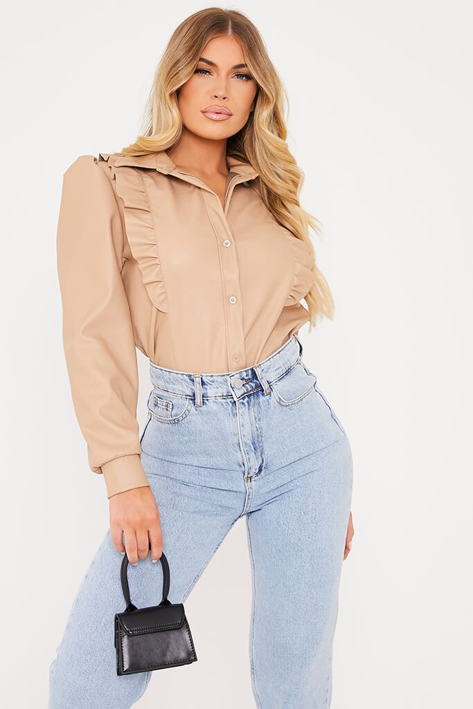 Stone Faux Leather Frill Puff Sleeve Shirt