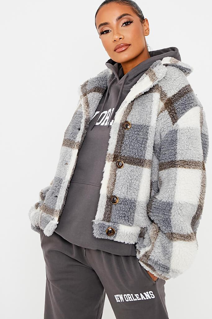Grey Check Borg Short Shacket