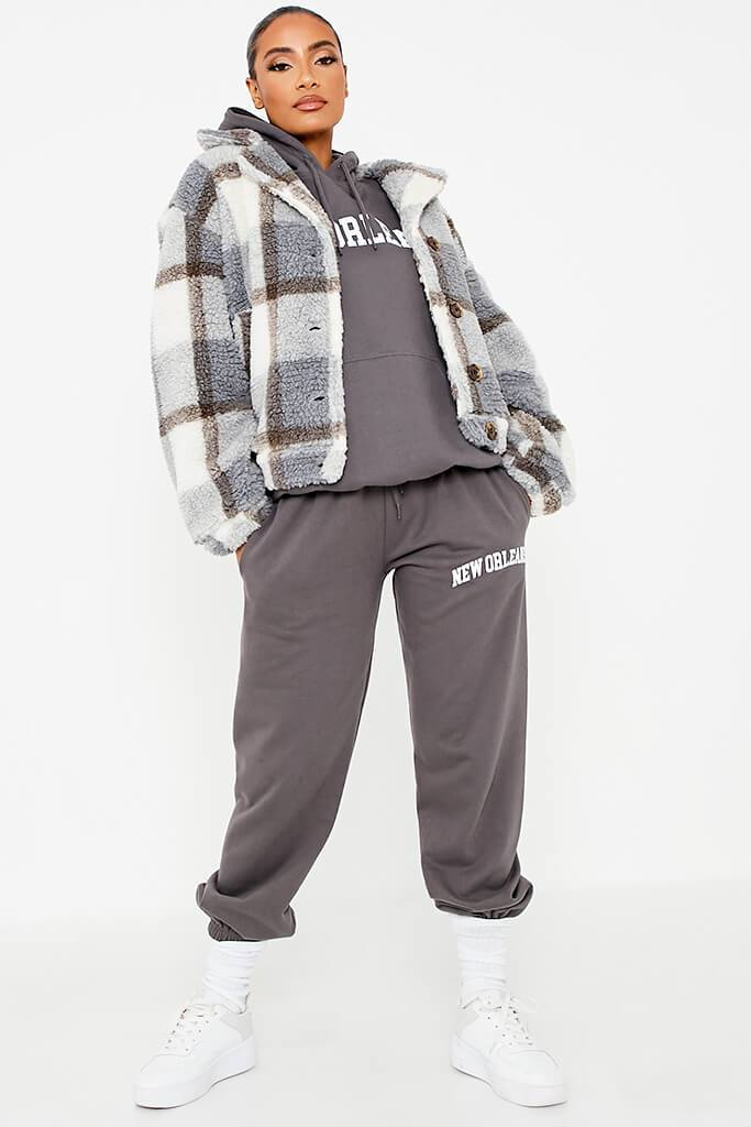 Grey Check Borg Short Shacket view 2