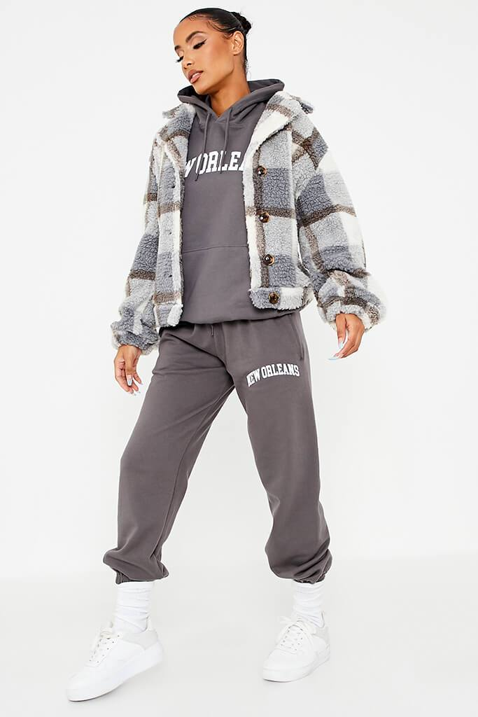 Grey Check Borg Short Shacket view 3
